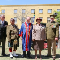 Dave Revell, Lt Col Tienie Lott, Alderman Ian Neilson, Brig Gen Debbie Molefe, Lt Col Johan Conradie and his wife Deirdre in front of the ceremonial gun
