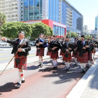 Cape Field Artillery Pipes & Drums with Drum Major Bill White leading the parade